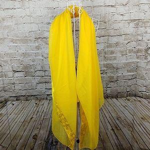Paradise Scarf Yellow Fringe Sheer